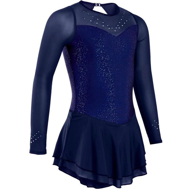 Kunstschaatspakje jurk met lange mouwen kind nachtblauw