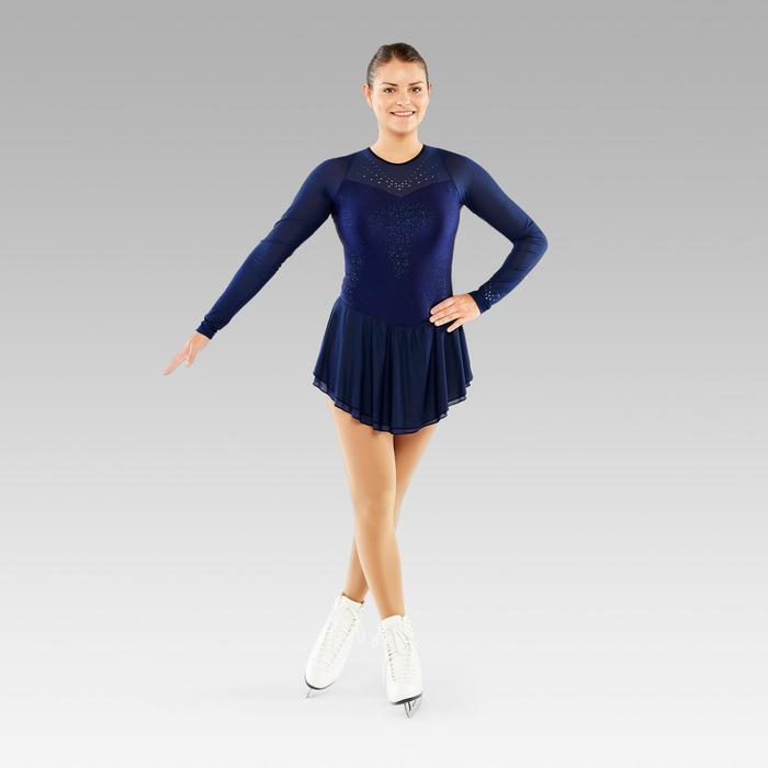 Eiskunstlaufkleid Erwachsene langarm nachtblau