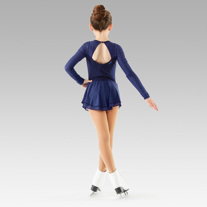Eiskunstlaufkleid langarm Kinder nachtblau