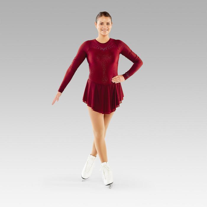Eiskunstlaufkleid Erwachsene langarm bordeaux