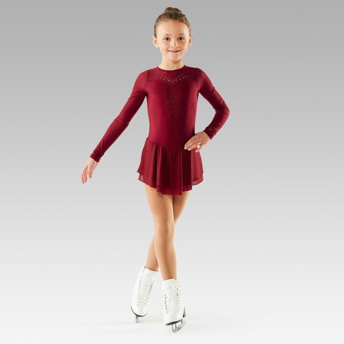 Eiskunstlaufkleid langarm Kinder bordeaux