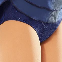 Kunstschaatsjurkje met lange mouwen voor volwassenen nachtblauw