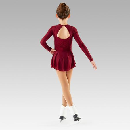 Vaikiška dailiojo čiuožimo treniruočių glaustinukė ilgomis rankovėmis su sijonu