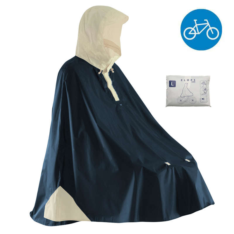 RAIN WEATHER CITY CYCLING APPAREL & ACC Clothing - 500 Cycling Rain Poncho - Navy B'TWIN - By Sport