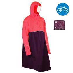 Regenponcho voor de fiets 900 fluoroze/paars poncho