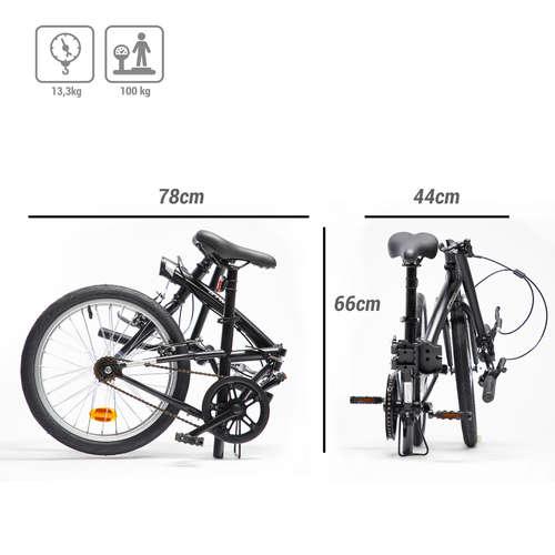 Bici Pieghevole Decathlon B Fold.Bici Pieghevole Tilt 100 Nera Btwin Bici Pieghevoli Ciclismo