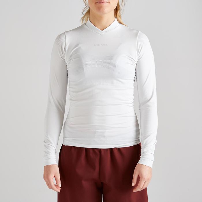 Camiseta Térmica Transpirable Manga Larga Kipsta KDRY500 Mujer Blanco