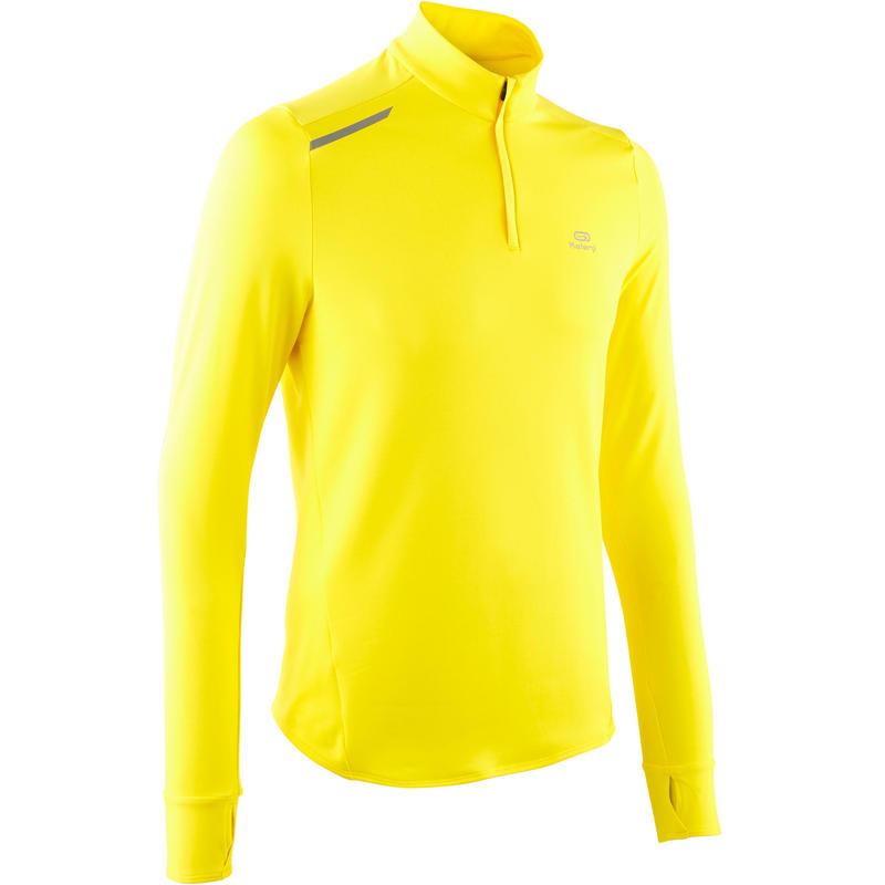 Pánské běžecké tričko s dlouhým rukávem Run Warm žluté