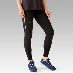 女款慢跑緊身褲Kalenji Run Warm - 黑色