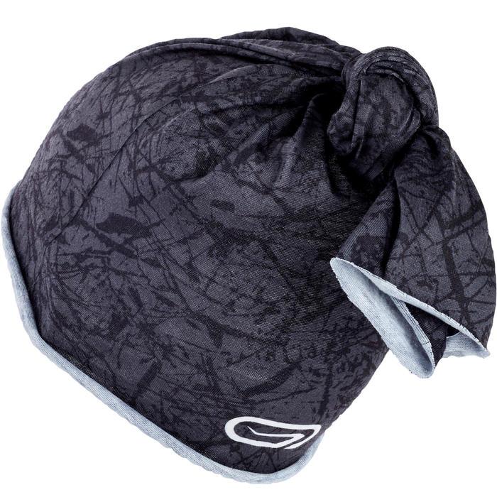 Multifunctionele hardloophoofdband zwart carbongrijs/zwarte opdruk