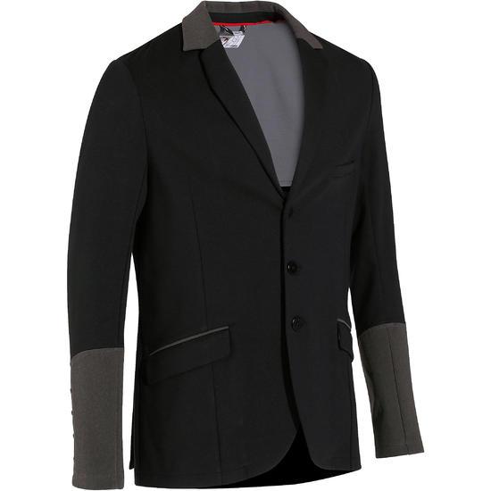 Wedstrijdjasje Paddock voor heren ruitersport zwart en grijs - 172884