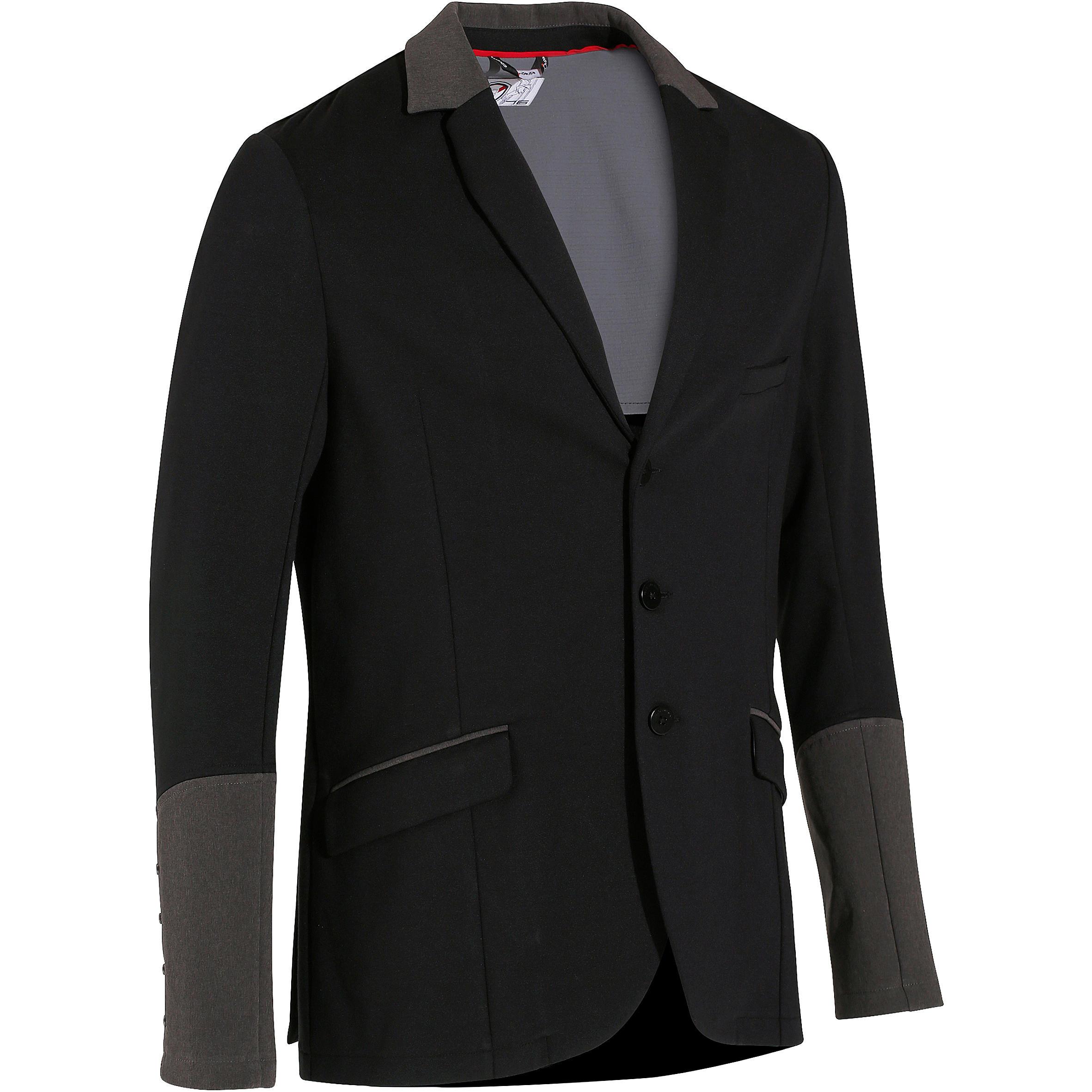 Fouganza Wedstrijdjasje Comp100 voor heren ruitersport zwart met grijze mouwen