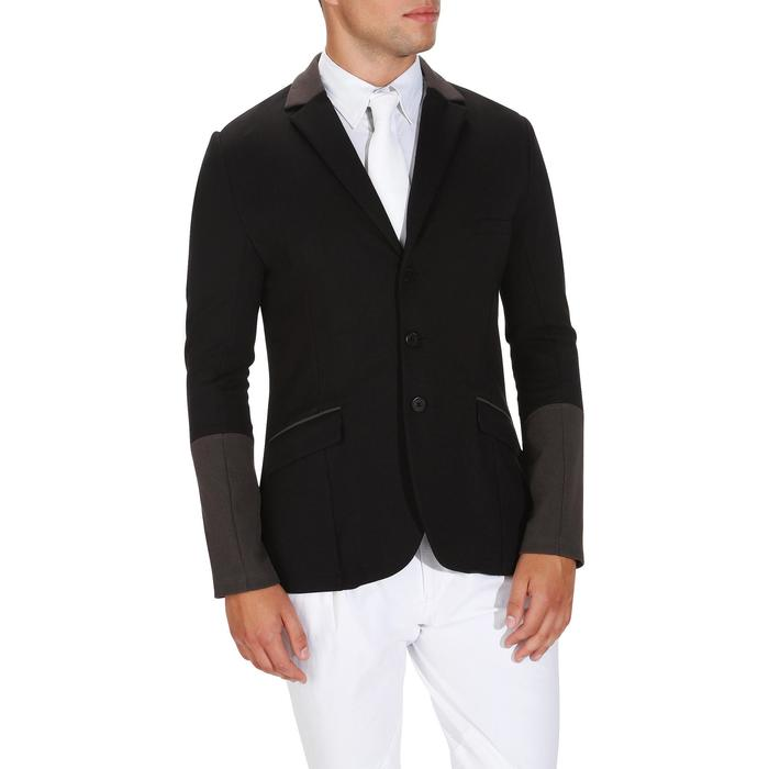 Veste de Concours équitation homme COMP100 noir et manches grises - 172885