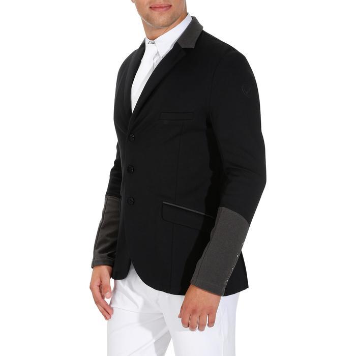 Veste de Concours équitation homme COMP100 noir et manches grises - 172889