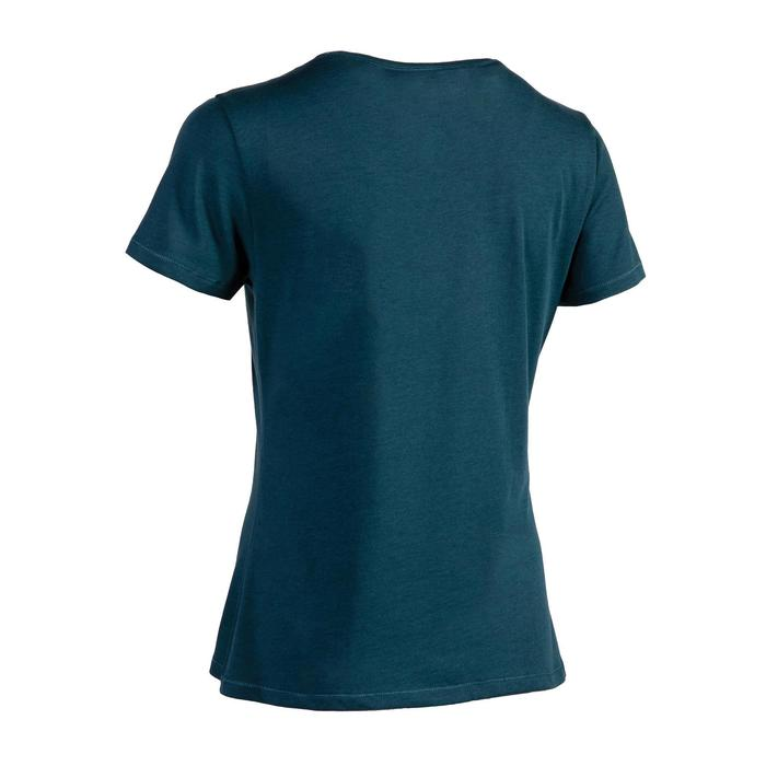 500 Women's Regular-Fit Pilates & Gentle Gym T-Shirt - Petrol Blue