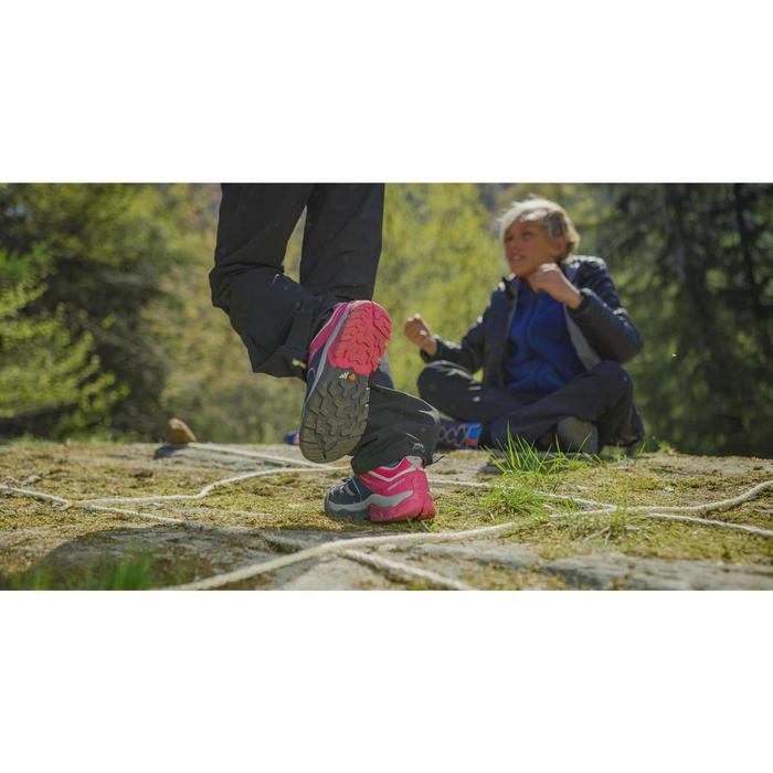 女童款綁帶低筒登山健行鞋Crossrock-藍色/粉紅色