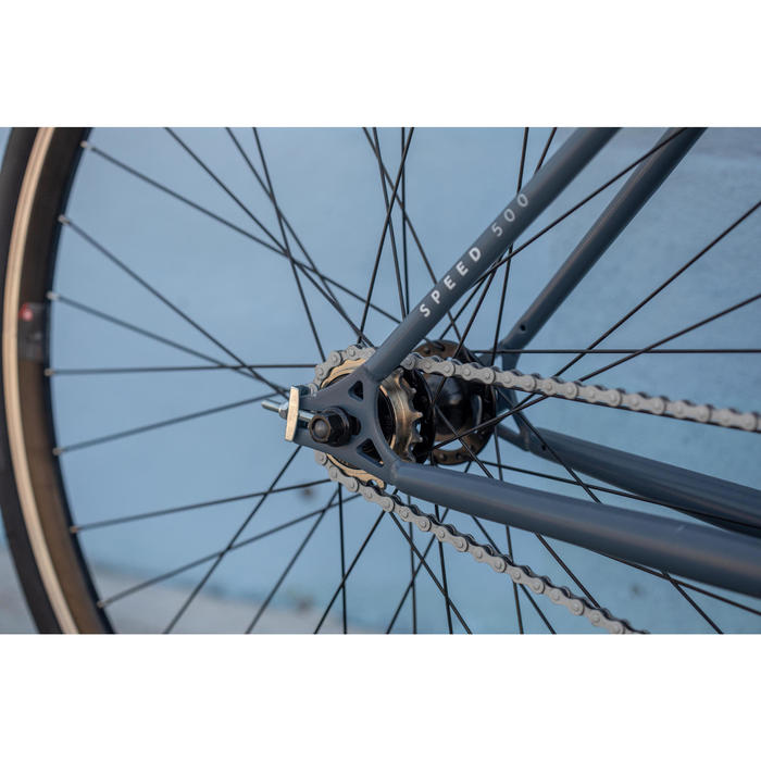 "City Bike 28"" Singlespeed/Fixie Elops 500 blau"