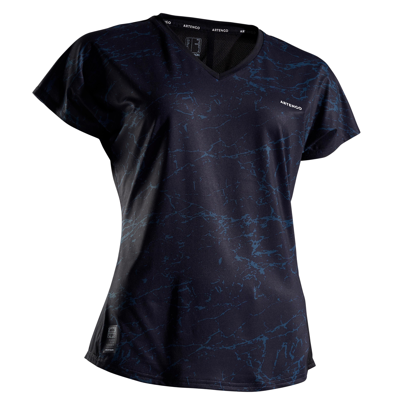 Tennis T-Shirt Soft 500 Damen schwarz | Sportbekleidung > Sportshirts > Tennisshirts | Artengo