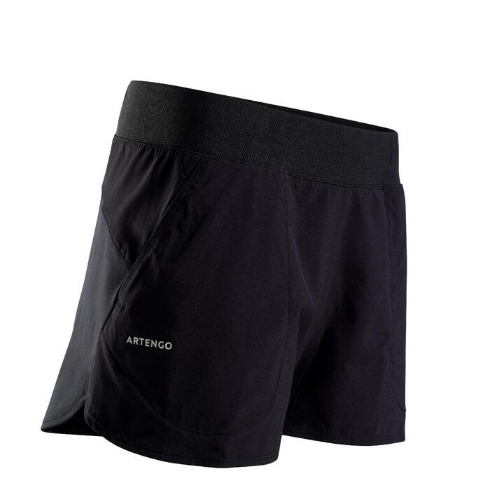 女款網球短褲SH Soft 500-黑色