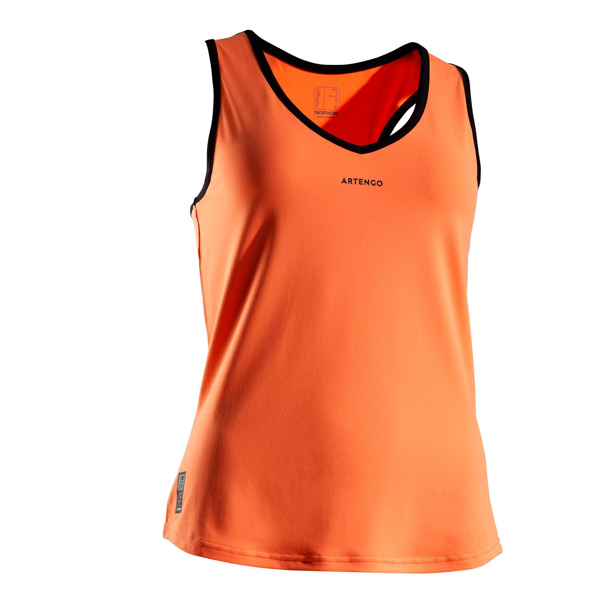 Tennis-Top TK Light 900 Damen orange | Sportbekleidung > Sporttops > Tennistops | Orange - Rosa - Schwarz | Artengo