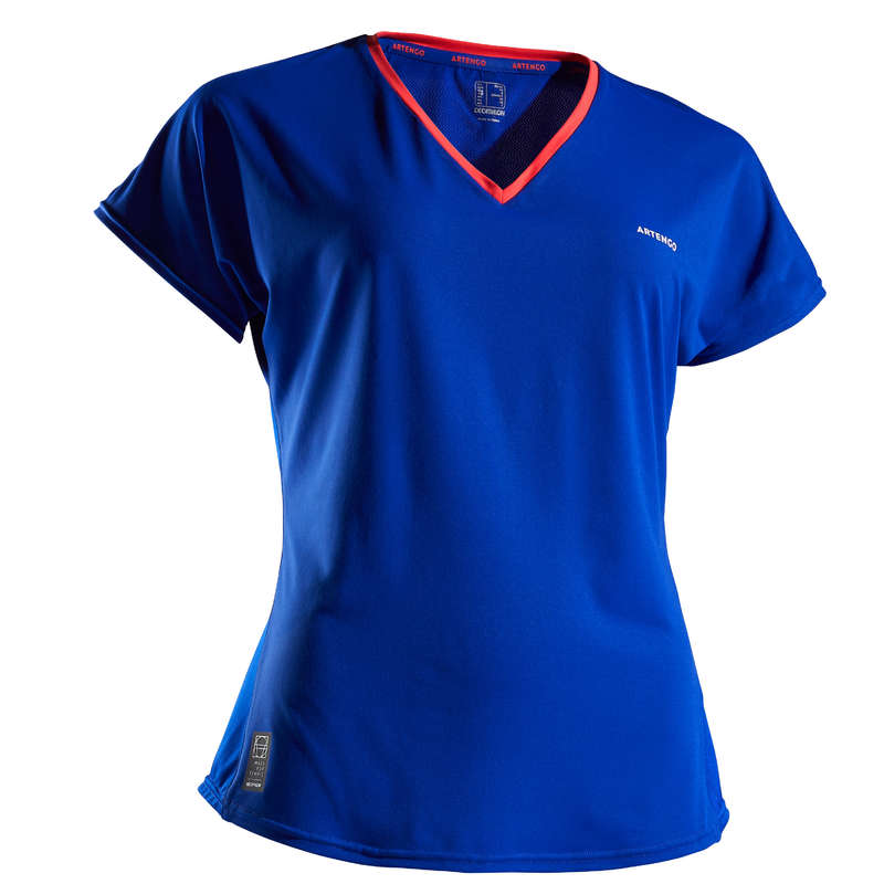 WOMEN WARM CONDITION RACKET SP APAREL Squash - Soft 500 T-Shirt - Blue ARTENGO - Squash Clothing