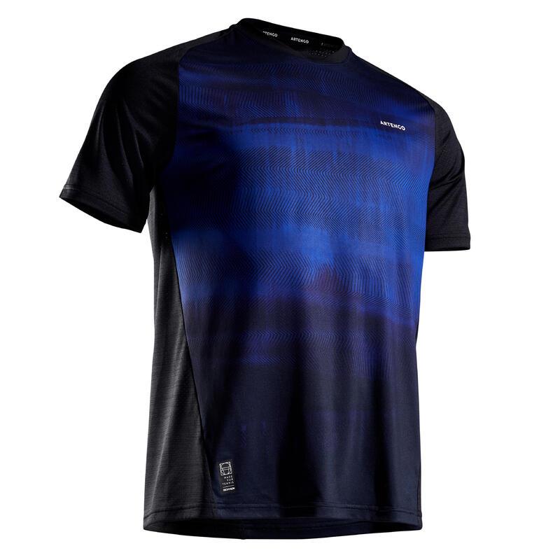 T-shirt tennis uomo DRY 500 nero-azzurro