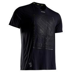 輕量網球T恤900-黑色/黃色