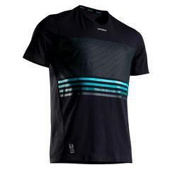 網球T恤Light 900-黑色/淺碧藍色