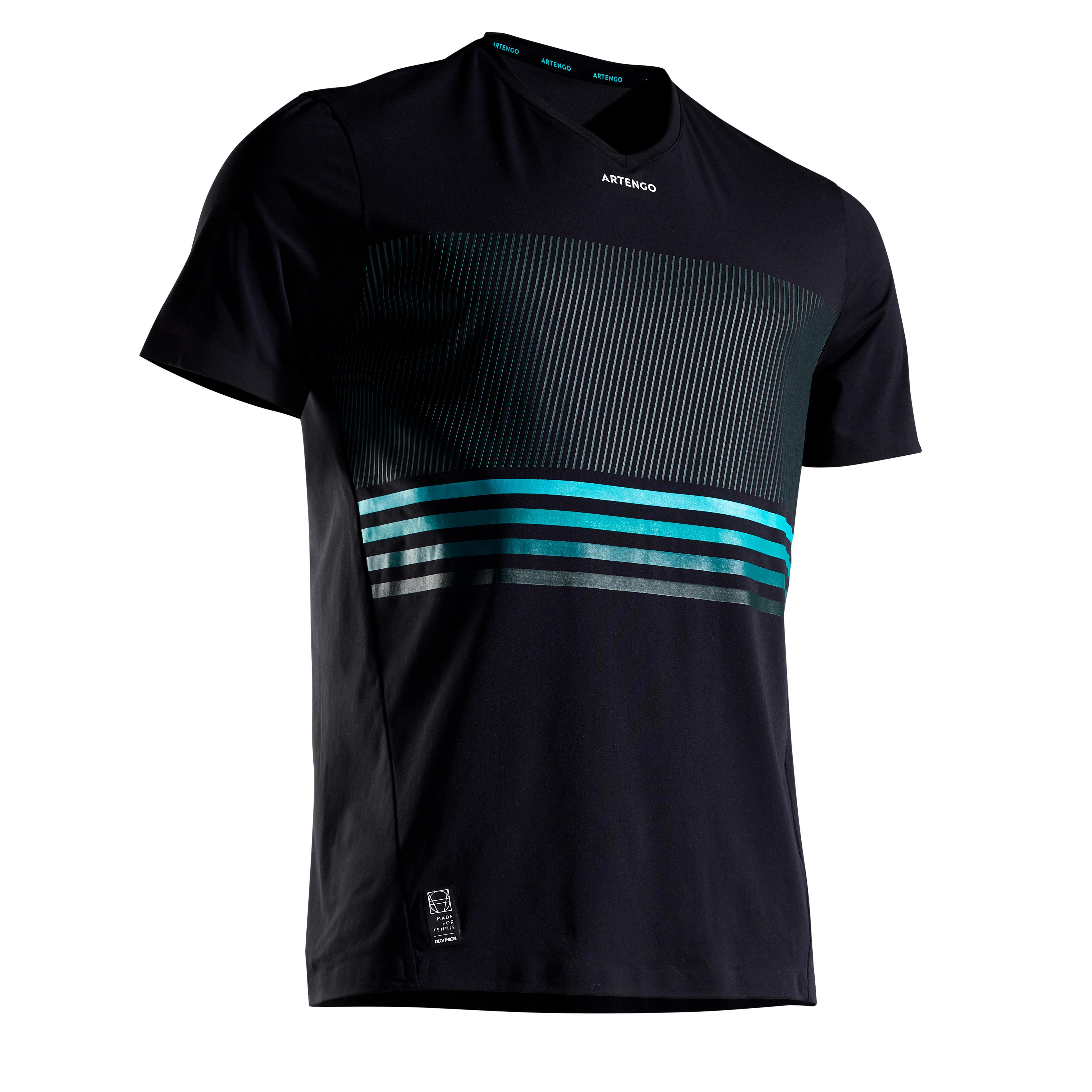 T-Shirt TTS900 Light Tennisshirt Herren schwarz/blau