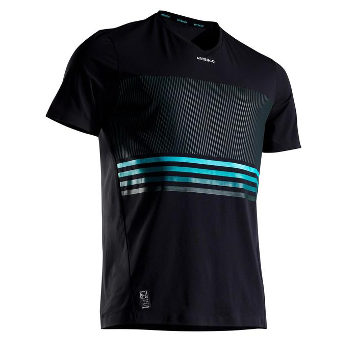 男款輕量網球T恤TTS 900-黑色與淺碧藍配色