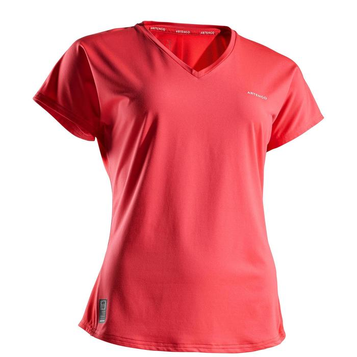 女款網球短袖T恤Soft 500-粉紅色