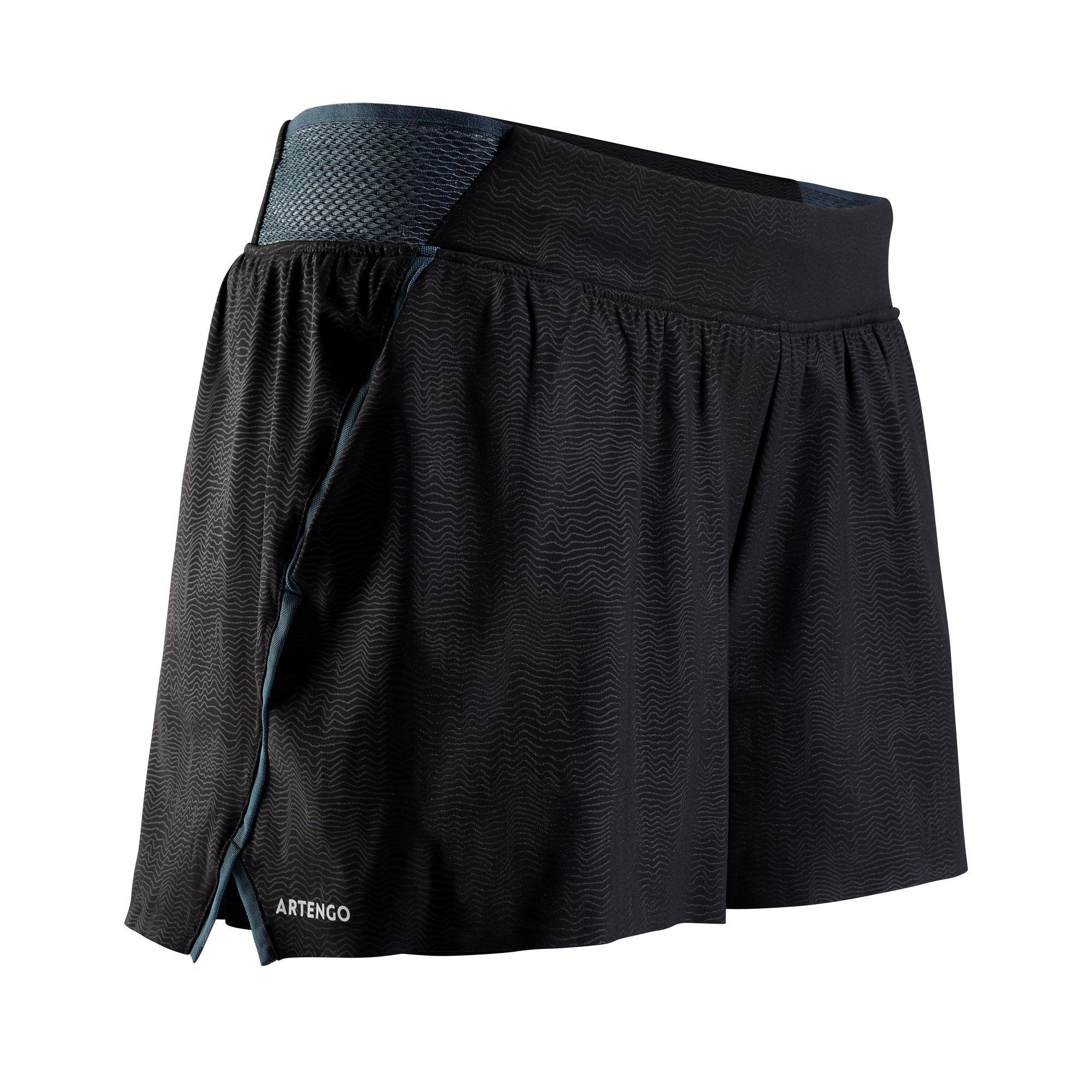 Tennis-Shorts SH light 900 Tennis Damen grau/schwarz | Sportbekleidung > Sporthosen > Tennisshorts | Schwarz - Grau - Blau | Artengo