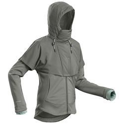 Hybrid-Sweatshirtjacke Naturwandern NH500 Damen khaki