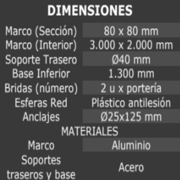 JUEGO DE 2 PORTERÍAS BALONMANO ALUMINIO