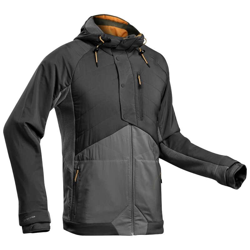 PÁNSKÉ SVETRY NA NENÁROČNOU TURISTIKU Turistika - Hybridní mikina NH500 černá  QUECHUA - Turistické oblečení