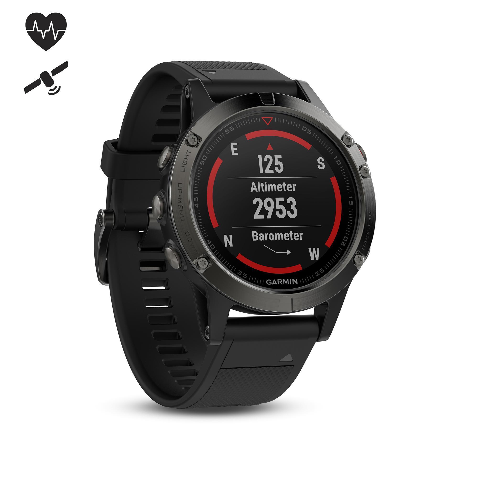 GPS-Pulsuhr Fnix 5 Multisport HRM grau/schwarzes Armband
