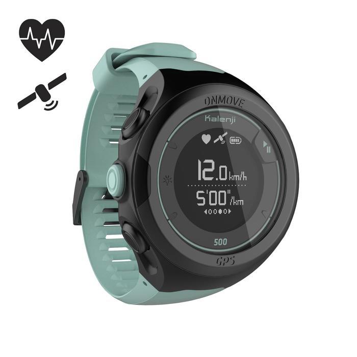 Reloj de running GPS y pulsómetro en muñeca ONmove 500 verde agua