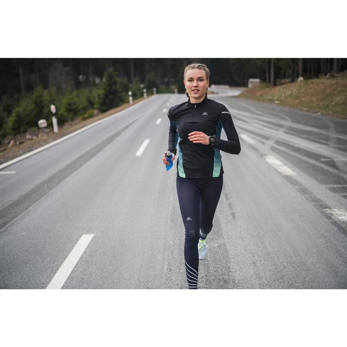 KIPRUN WOMEN'S WARM LIGHT LONG SLEEVED RUNNING JERSEY BLACK TURQUOISE