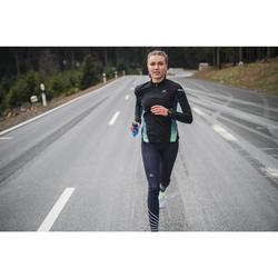MAILLOT MANCHES LONGUES RUNNING FEMME KIPRUN WARM LIGHT NOIR TURQUOISE