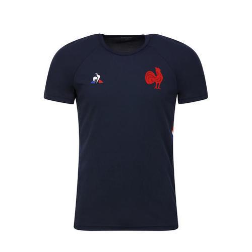 T-shirt de rugby entrainement XV de France adulte bleu 2019