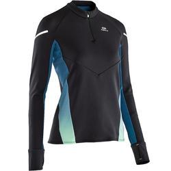 Hardloopshirt met lange mouwen voor dames Kiprun Warm Light zwart turquoise