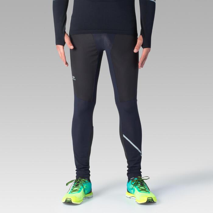 男款跑步緊身褲KIPRUN WARM RAIN - 黑色/藍色