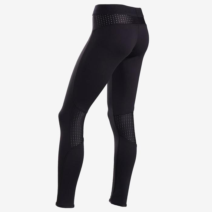 Legging chaud respirant S900 fille GYM ENFANT noir, face interne gris