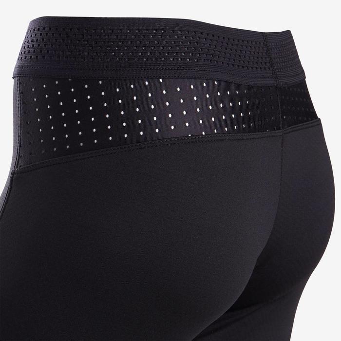 Warme en ademende legging voor gym meisjes S900 zwart/grijs aan de binnenkant