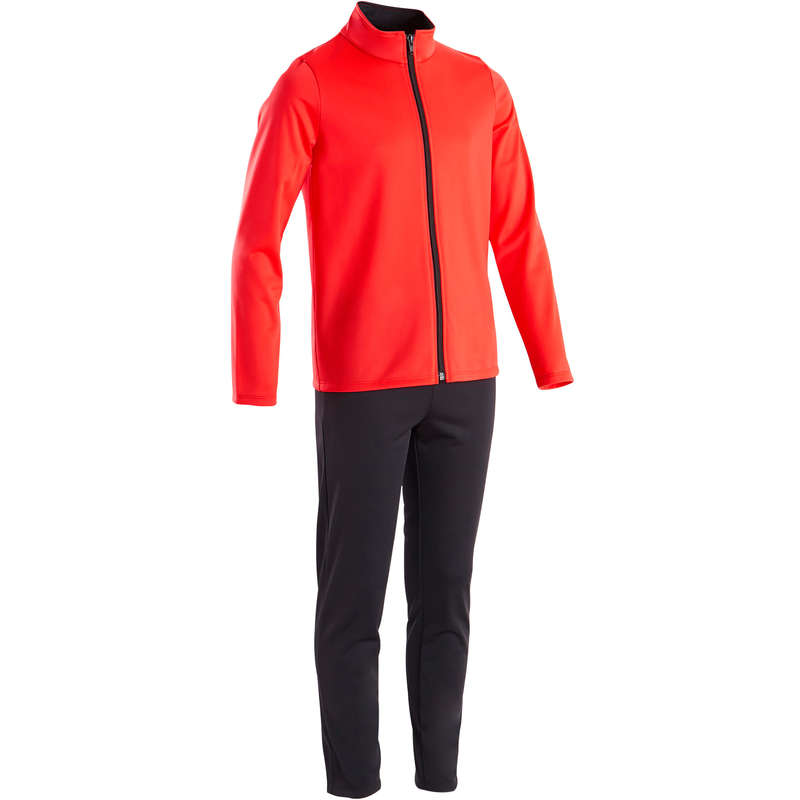 GIRL EDUCATIONAL GYM COLD WEATHER APP Fitness and Gym - Gym'y Girls' Gym Tracksuit Red DOMYOS - Gym Activewear