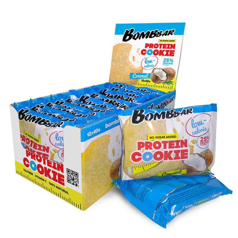 ПРОТЕИНЫ, БИОЛОГИЧ АКТИВ ДОБАВКИ Фитнес, пилатес - Протеиновое печенье Кокос BOMBBAR - Спортивное питание
