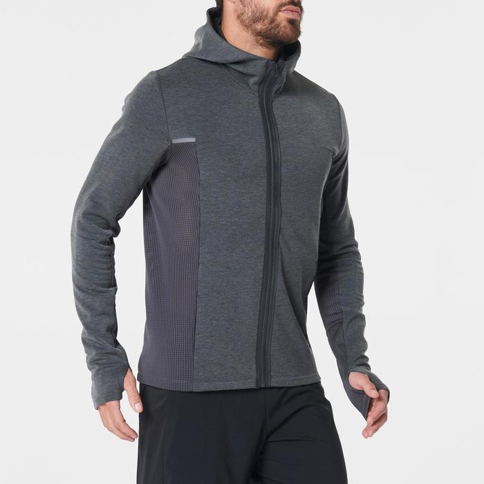 Hardloopjasje voor heren Run Warm+ gemêleerd grijs