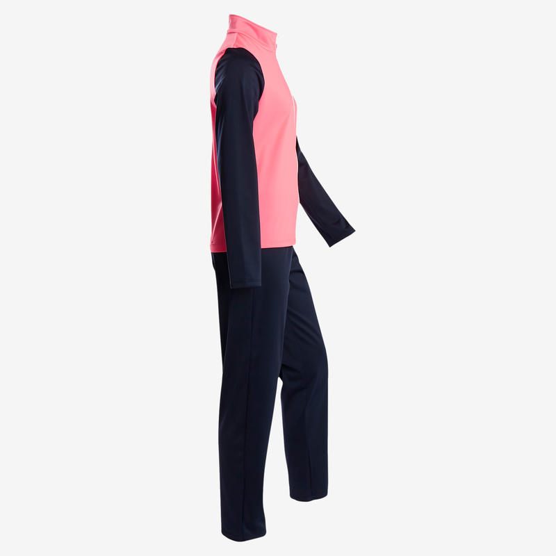 S500 Gym'y Girls' Warm Breathable Synthetic Gym Tracksuit - Pink