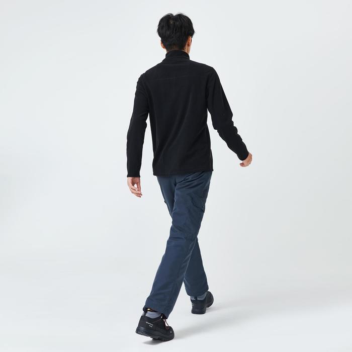 男款登山健行刷毛外套MH100-黑色