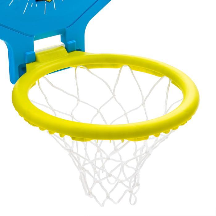 Basketbalbord The Hoop 500 kind/volwassene embleem groen blauw. Verplaatsbaar.